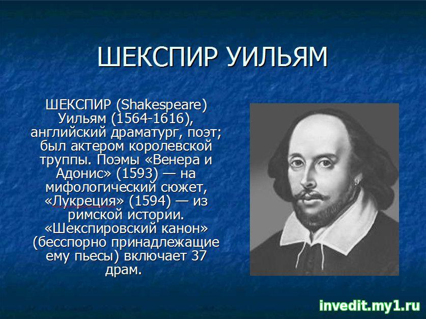 Шекспир картинки для презентации